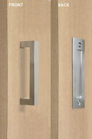 Barn Door Pull and Flush Rectangular Door Handle Set  (Brushed Satin Finish)