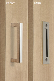 Barn Door Pull and Flush Rectangular Door Handle Set  (Polished Chrome Finish)