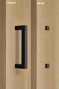 Barn Door Pull Square Door Handle Set with Decorative Fixings (Black Powdered Finish)
