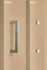 Barn Door Pull Square Door Handle Set with Decorative Fixings  (Brushed Satin Finish)