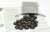 Black Onyx Rune Stone Set With Free Pouch