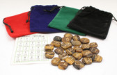 Tiger's Eye Brown Rune Stone Set With Pouch