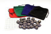 Blue Goldstone Rune Stones With Pouch