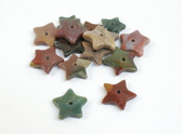 Jasper Star Beads Green Brown Red Multicolor Set of 7