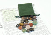 Mixed Gemstone Colorful Rune Stone Set With Pouch