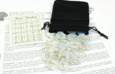 Opalite Clear Blue Rune Stone Set With Chart and Velveteen Bag