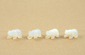 Opalite Bear Beads Carved Blue Beads Set of 4 with 1.3mm Hole