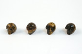 Tiger's Eye Skull Brown Beads Set of 4 with 1.3mm Hole