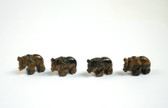 Tiger's Eye Elephant Brown Stone Beads Set of 4 with 1.3mm Hole