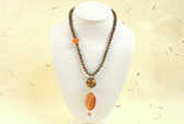 Carnelian Agate, Tiger's Eye, and Unakite Jasper Orange Brown Green Stone Necklace