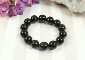 Obsidian Large Black Stone Beaded Stretch Bracelet