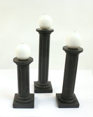 Black Onyx Candle Holders Tall Carved Stone Set of 3