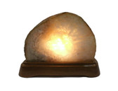 Quartz Geode White Brown Stone Lamp with Wooden Base