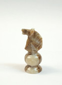 Chess Knight Brown White Onyx Stone Replacement Playing Piece