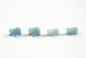 Amazonite Bear Beads Blue Green Stone Animal Beads Set of 4 with 1.3mm Hole