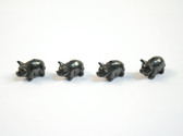 Hematite Pig Beads Black Stone Animal Beads Set of 4 with 1.3mm Hole