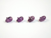Amethyst Mouse Beads Purple Quartz Stone Animal Beads Set of 4 with 1.3mm Hole