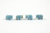 Amazonite Elephant Beads Blue Green Stone Animal Beads Set of 4 with 1.3mm Hole