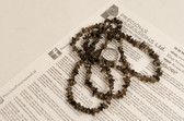 Smoky Quartz Necklace Chip Beads Nuggets Long Brown Strand 36 Inch with Clasp
