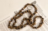 Tiger's Eye Necklace Chip Beads Nuggets Long Brown Strand 34 Inch with Clasp