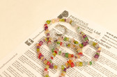 Flower Quartz Necklace Chip Beads Nuggets Long Colorful Rainbow Strand 34 Inch with Clasp