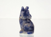 Blue Quartz Wolf Beads Blue Stone Animal Bead Set of 4 with 1.3mm Hole