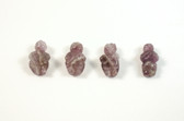 Amethyst Venus of Willendorf Beads Purple Stone Beads Set of 4 with 1.3mm Hole