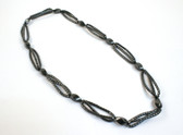 Long Hematite Necklace Black Stone Beads