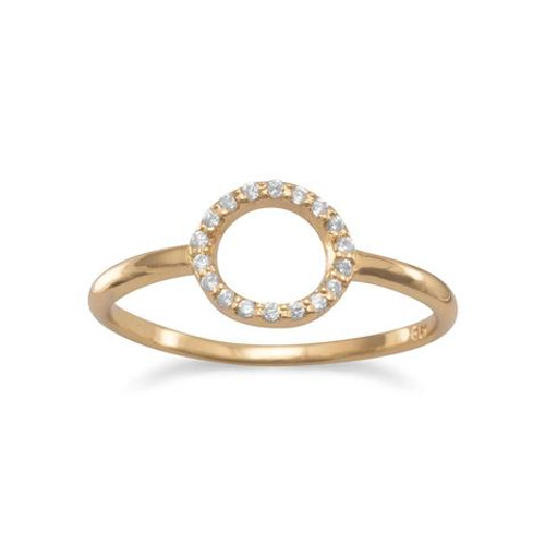14 Karat Gold Plated Small CZ Circle Ring - Size 5