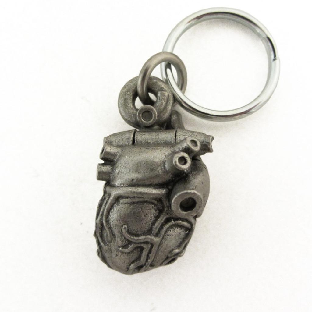 Anatomical Heart Locket Keychain back view
