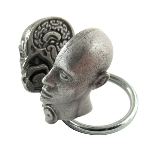 Anatomical Head Keychain partially open