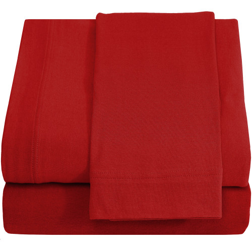 Jersey 100% Cotton Twin XL Sheet Set, Red