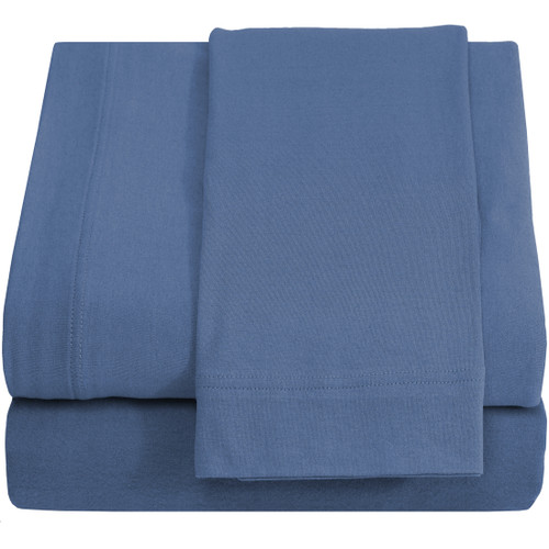 Jersey 100% Cotton Twin XL Sheets, Coronet Blue