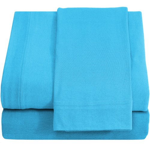 Jersey 100% Cotton Twin XL Sheet Sets, Aqua Blue