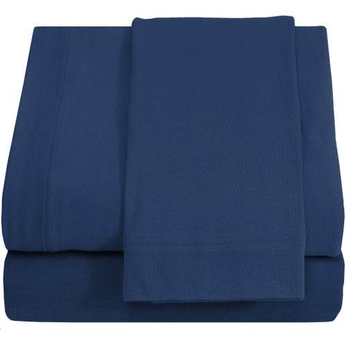 Jersey 100% Cotton Twin XL Sheet Sets, Dark Blue