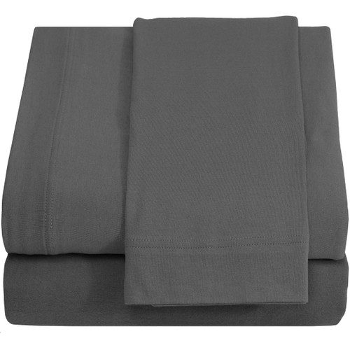 Jersey 100% Cotton Twin XL Sheet Sets, Grey