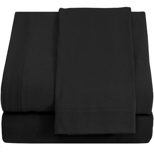 Jersey 100% Cotton Twin XL Sheet Sets, Jet Black