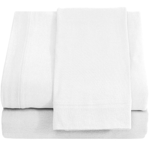 Jersey 100% Cotton Twin XL Sheet Sets, White