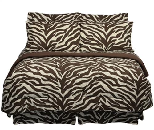 Ultra-Soft Brown Zebra Print Twin XL Bedding Set