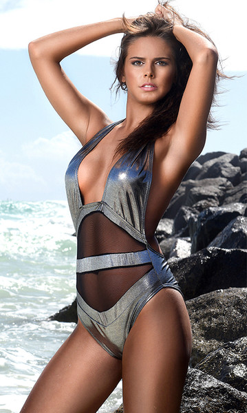 Metallic Mesh Inset One-piece Swimsuit