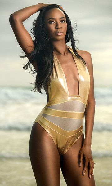 Metallic Mesh Inset One Piece Swimsuit