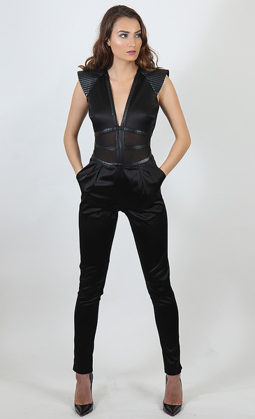 Satin and Mesh Inset Jumpsuit - Tall