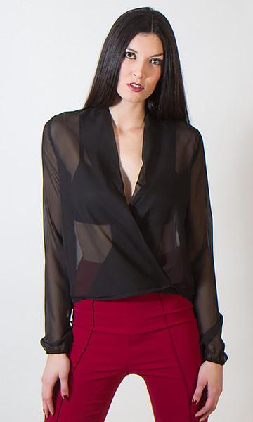 Sheer Wrap Shirt - Tall