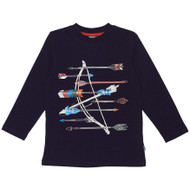 Deux par Deux boys printed navy top.