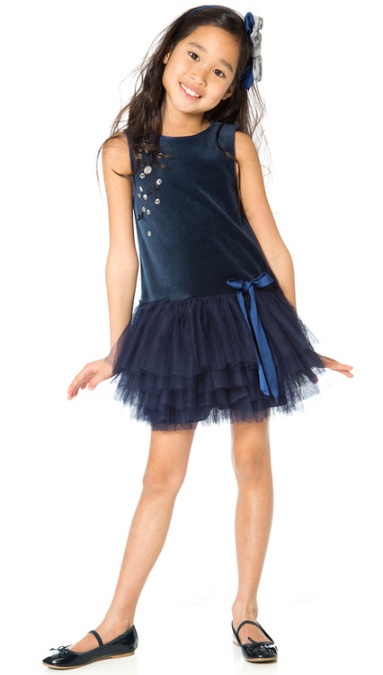 Deux par Deux girls blue velvet dress.