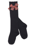 Deux par Deux girls black knee-high socks