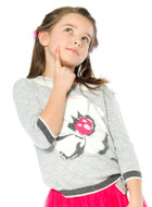 Deux par Deux girls grey poppy sweater.