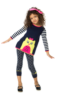 Deux par Deux girls soft knit owl tunic.