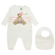Junior Gaultier Girls Footie & Bib Set