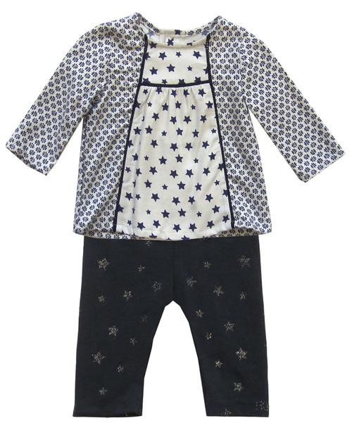 IKKS navy print blouse and leggings.
